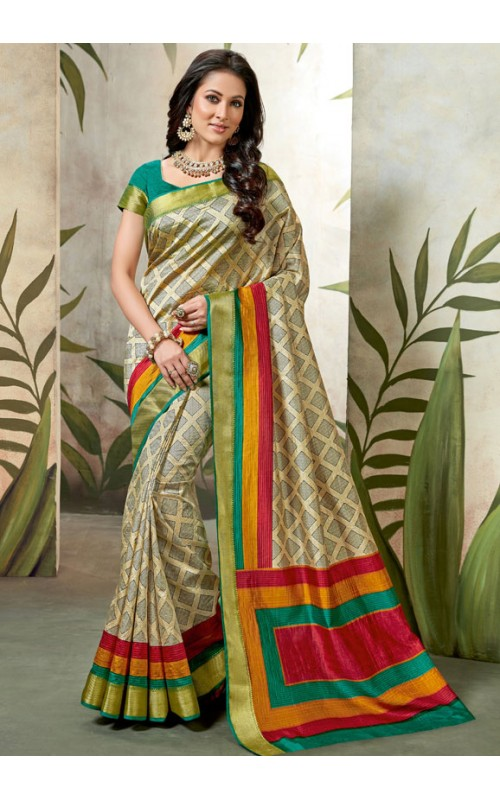 Beige and Red Raw Silk Printed Casual Wear Saree