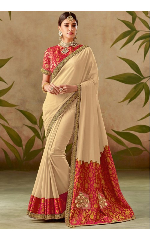 Beige Designer Embroidered Saree