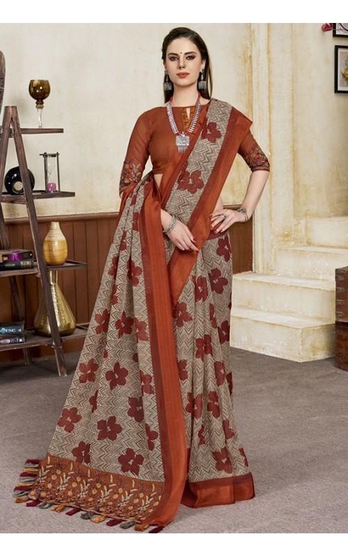 Beige Linen Party Wear Saree