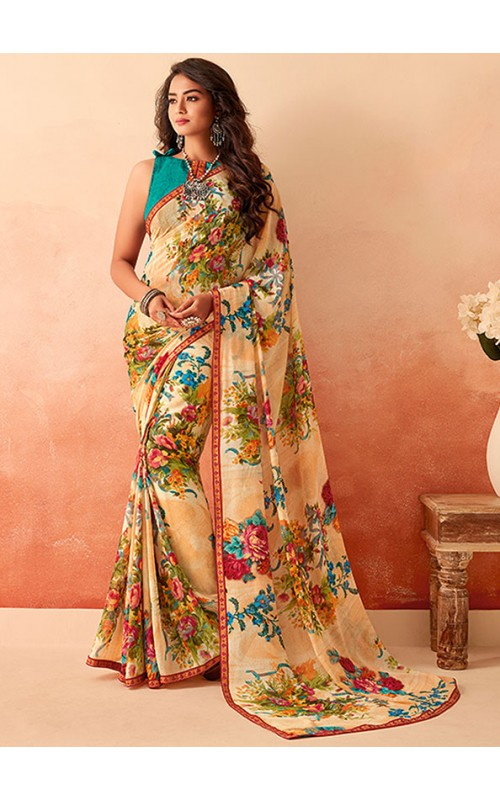 Beige Printed Georgette Saree