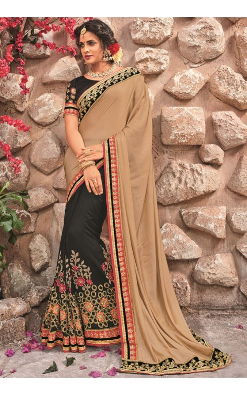 Black and Cream Heavy Embroidery Work Saree
