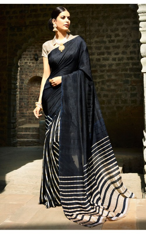 Black and Cream Printed Cotton Saree