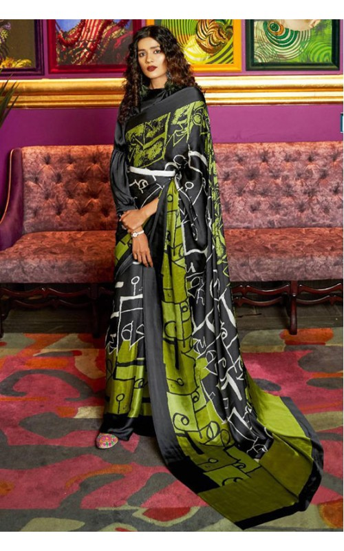 Black and Green Crepe Digital Printed Saree
