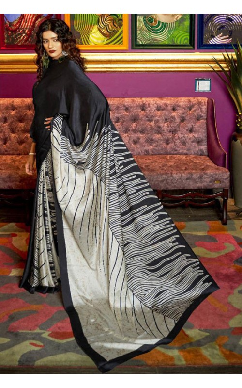 Black and Off White Crepe Digital Printed Saree