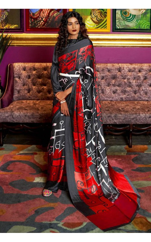 Black and Red Crepe Digital Printed Saree