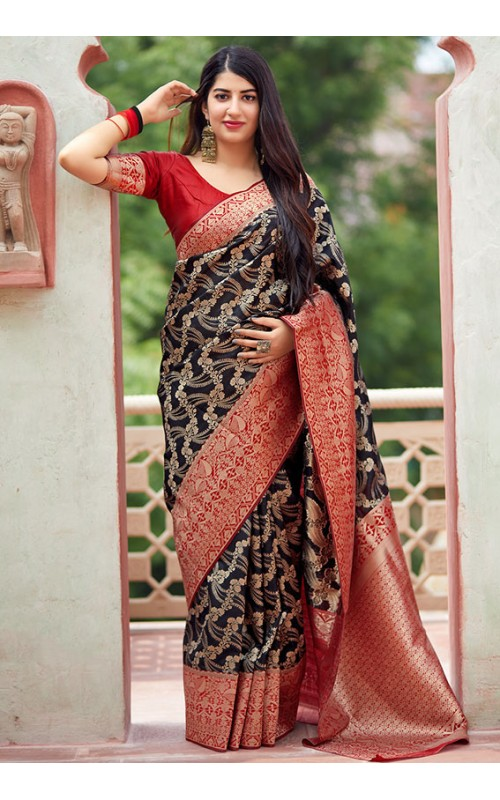 Black Banarasi Silk Saree