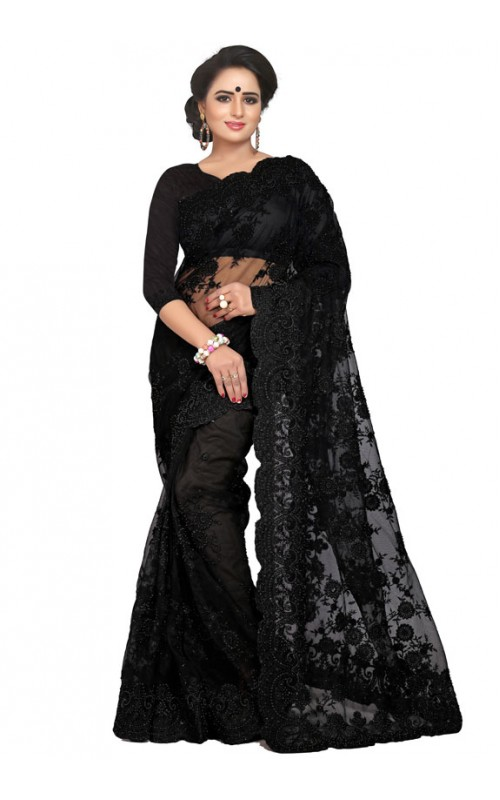 Black Embroidery Work Net Saree