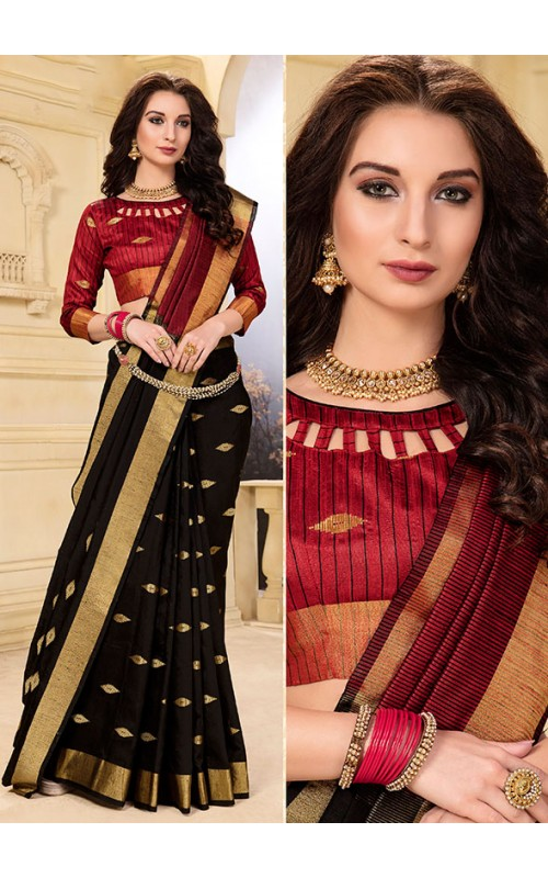 Black Fancy Cotton Zari Butta Saree