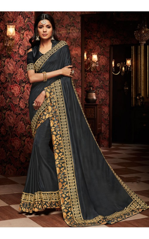 Black Heavy Embroidered Border Saree