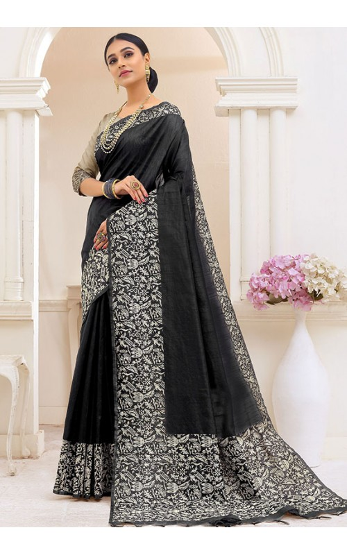 Black Kalamkari Printed Saree