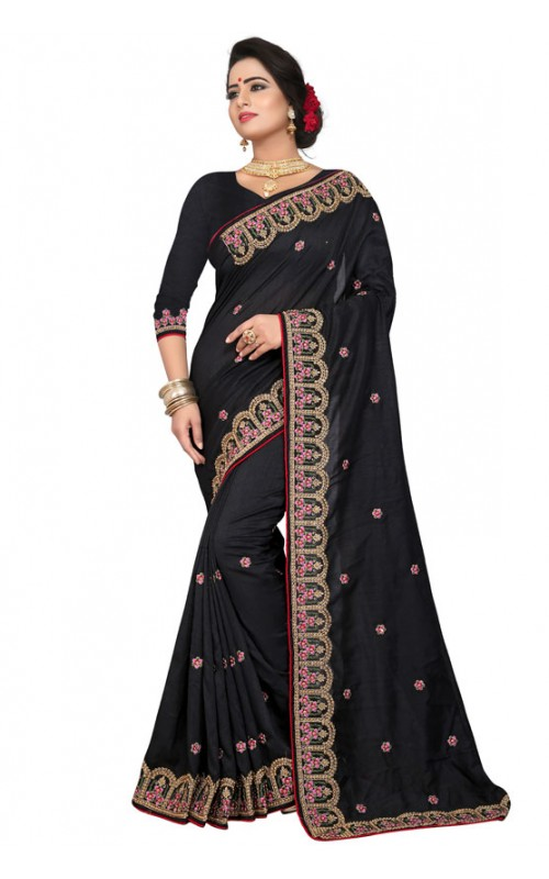 Black Silk Embroidery Work Saree
