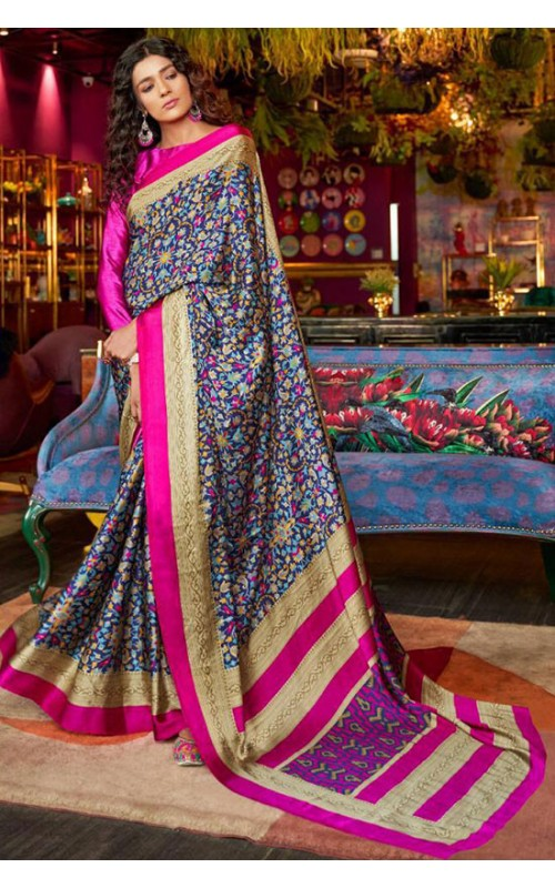Blue and Magenta Crepe Digital Printed Saree