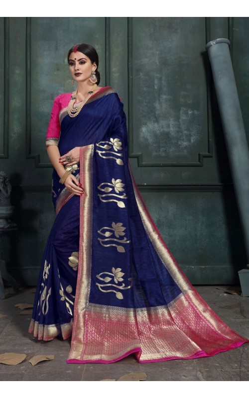Blue and Pink Raw Silk Jacquard Party Wear Saree