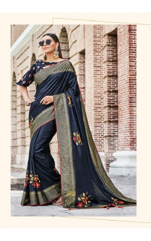 Blue Art Silk Festival Wear Saree