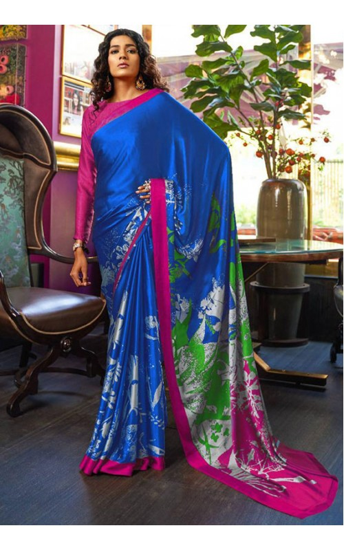 Blue Crepe Digital Printed Saree