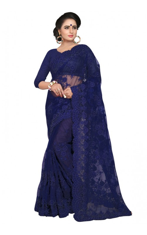 Blue Embroidery Work Net Saree