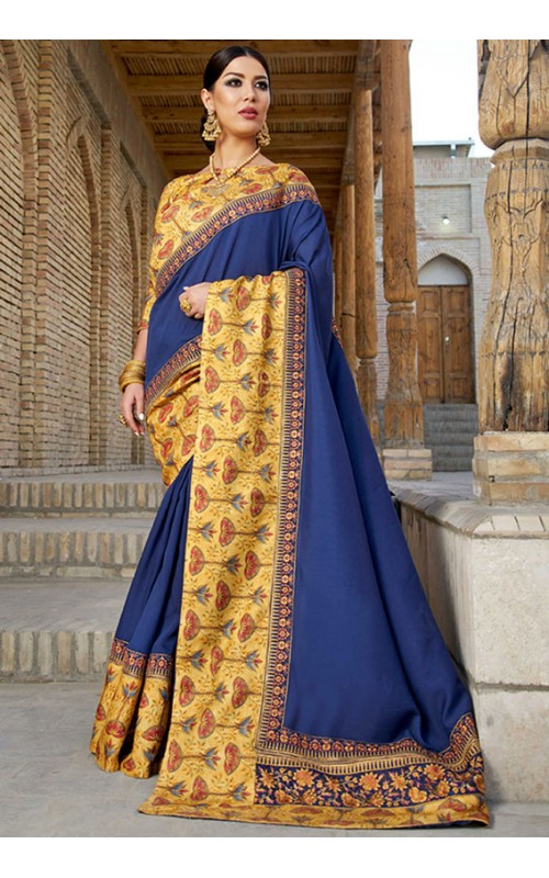 Blue Georgette Festival Wear Saree