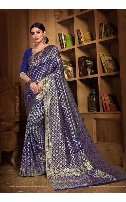 Blue Meenakari Silk Wedding Wear Saree