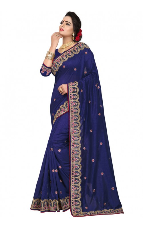 Blue Silk Embroidery Work Saree