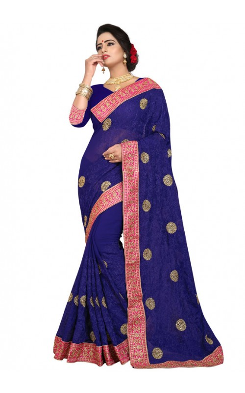 Blue Wedding Wear Georgette Saree