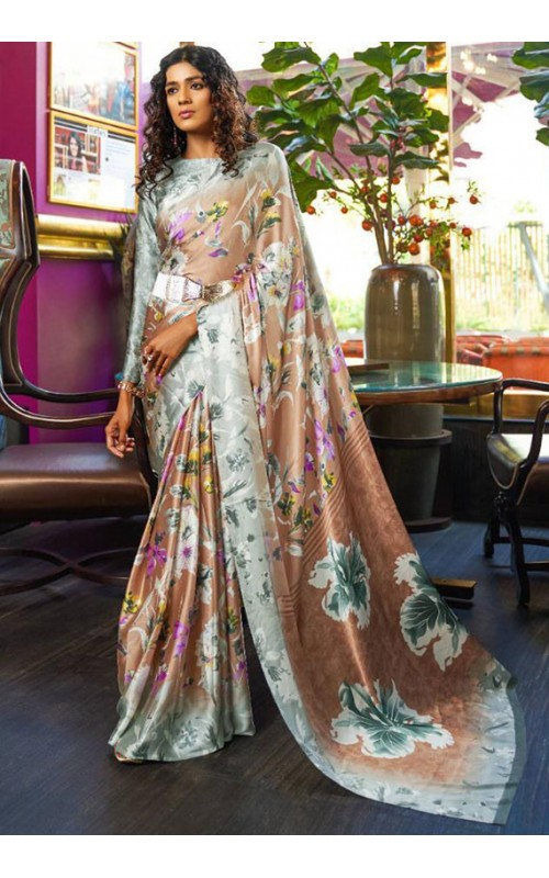 Brown Crepe Digital Printed Saree
