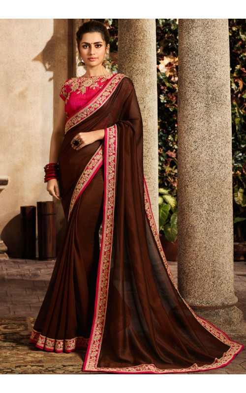 Brown Embroidered Saree