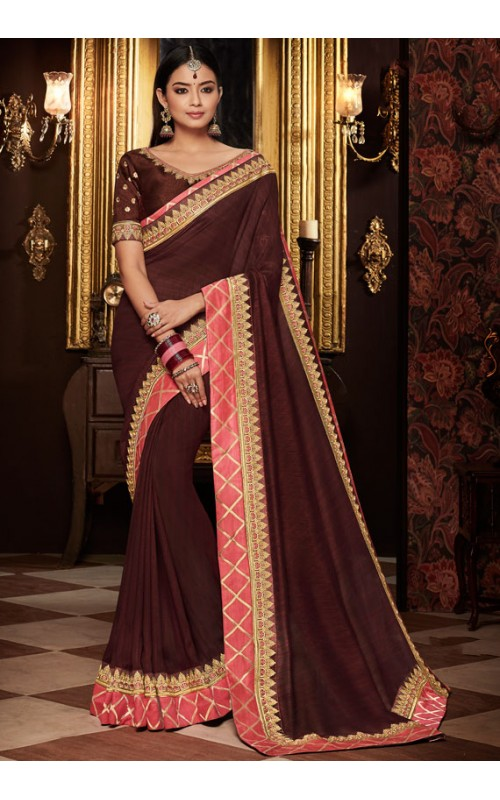 Brown Heavy Embroidered Border Saree