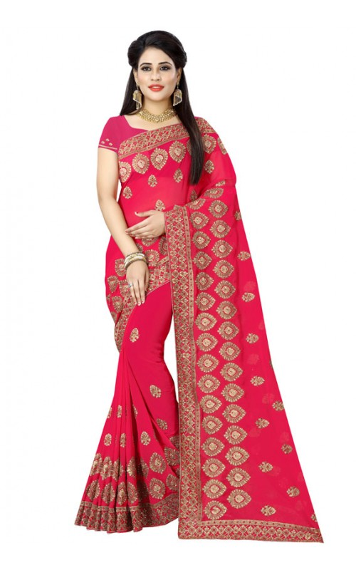 Cherry Pink Georgette Embroidered Saree
