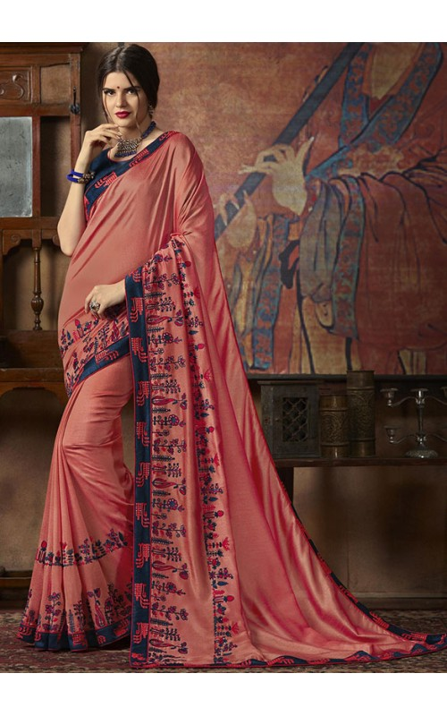Coral Pink Art Silk Party Wear Saree