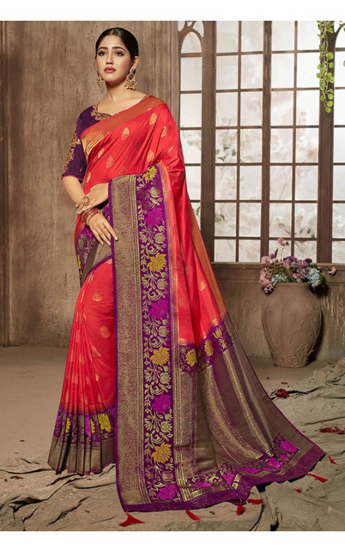 Coral Red and Purple Silk Wedding Wear Saree