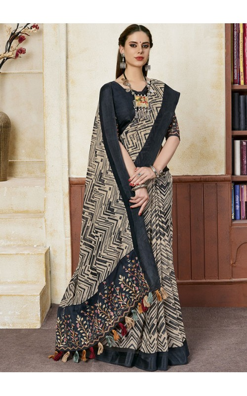 Cream and Black Linen Party Wear Saree