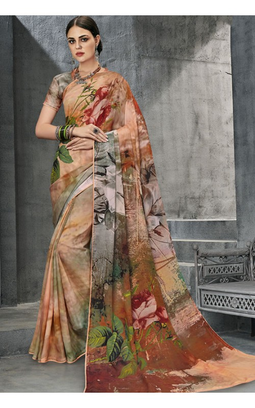 Cream and Brown Georgette Saree