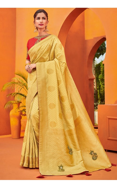 Cream and Golden Two Tone Silk Jacquard Wedding Wear Saree