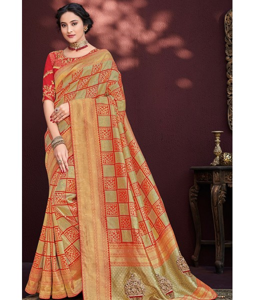 Cream and Red Banarasi Silk Jacquard Wedding Wear Saree