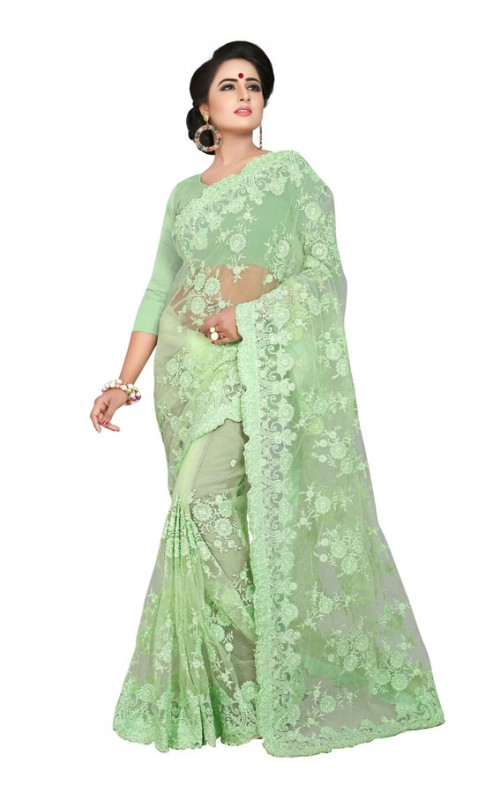 Green Embroidery Work Net Saree