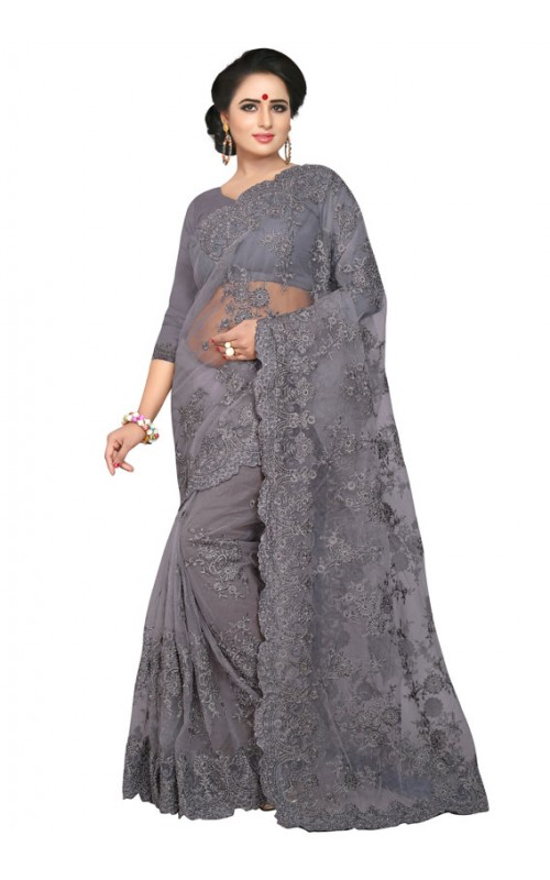 Grey Embroidery Work Net Saree
