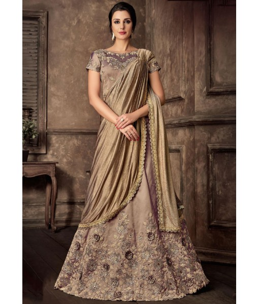 Khakhi and Golden Ready to Wear Lehenga Saree