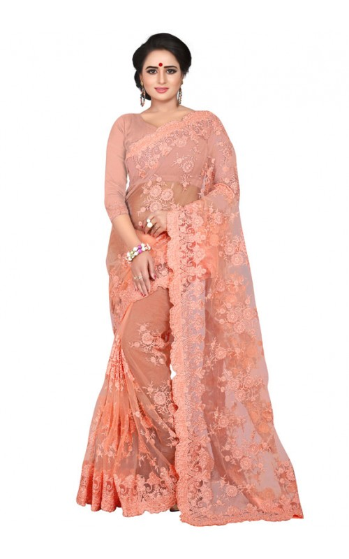 Peach Embroidery Work Net Saree
