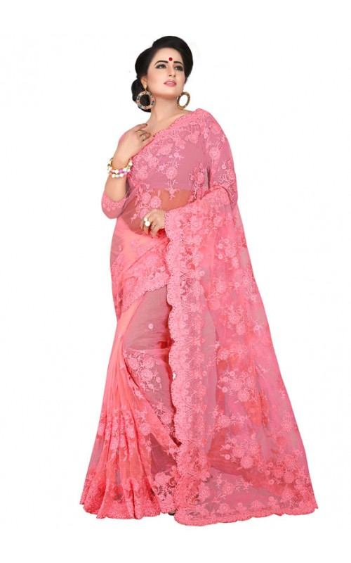 Pink Embroidery Work Net Saree