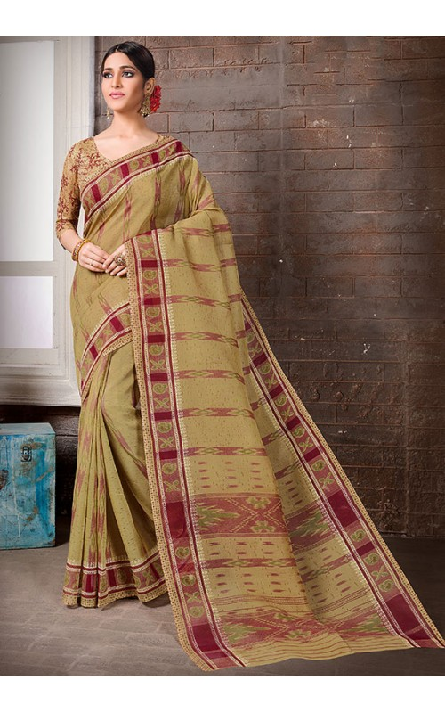 Beige Cotton Printed Saree