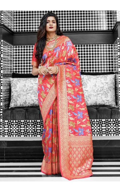 Pink Pure Silk Weaving Work Saree