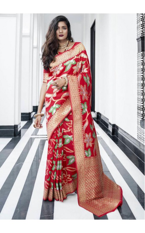 Red Pure Silk Weaving Work Saree