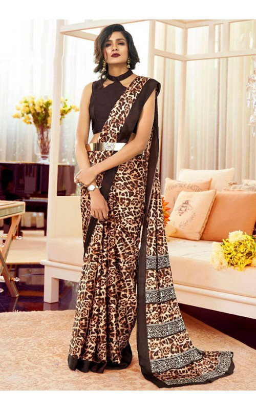 Beige Satin Crepe Digital Printed Saree