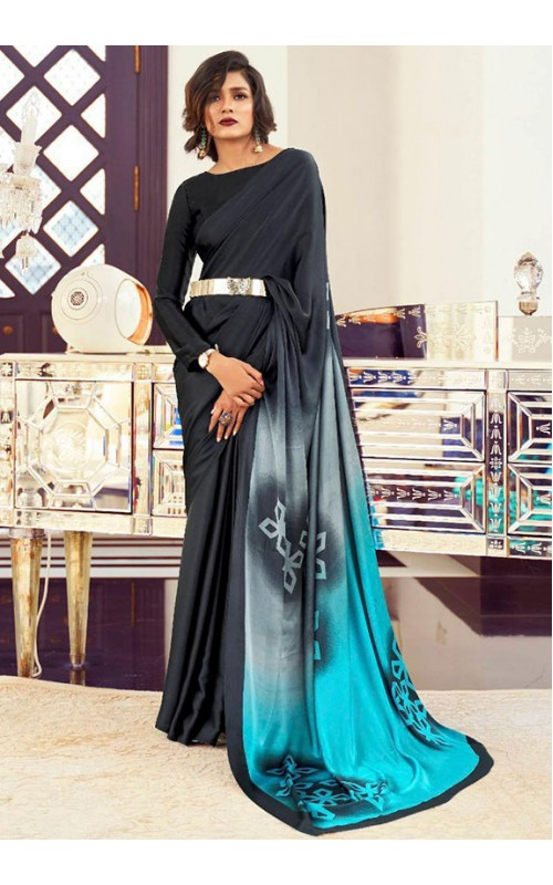 Black and Firozi Satin Crepe Digital Printed Saree