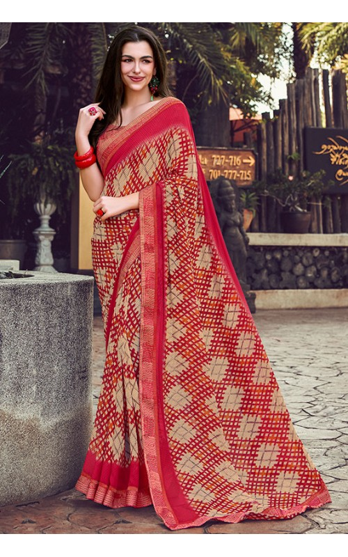 Beige and Red Georgette Printed Saree