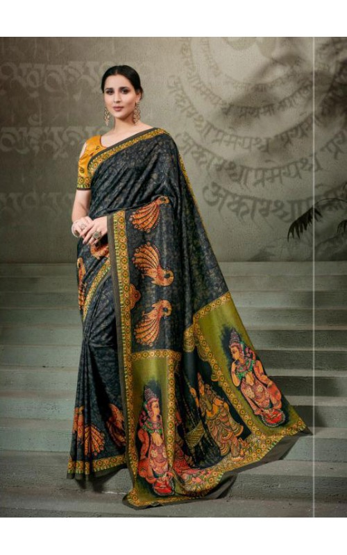 Black and Green Pure Tussar Silk Saree
