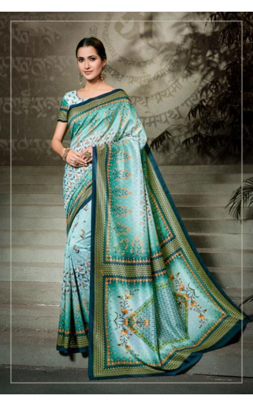 Blue and Green Pure Tussar Silk Saree