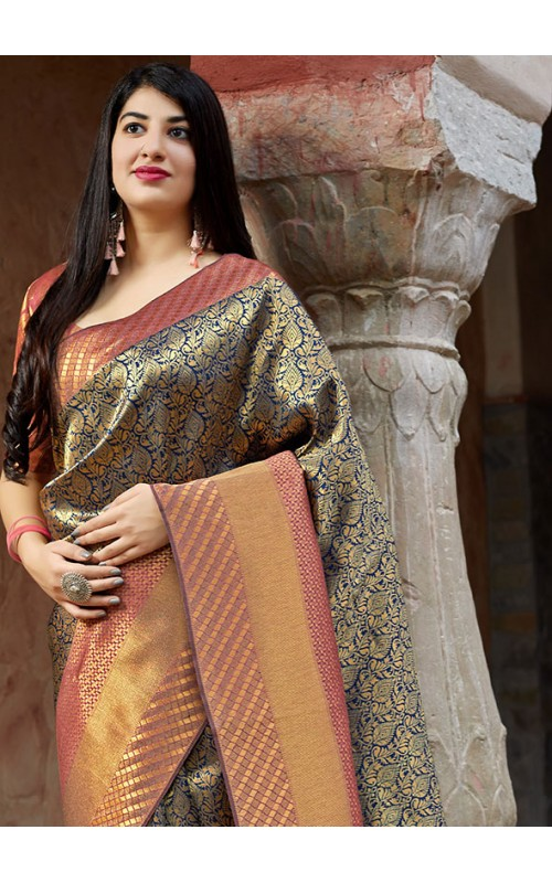 Blue and Golden Banarasi Silk Zari Work Saree