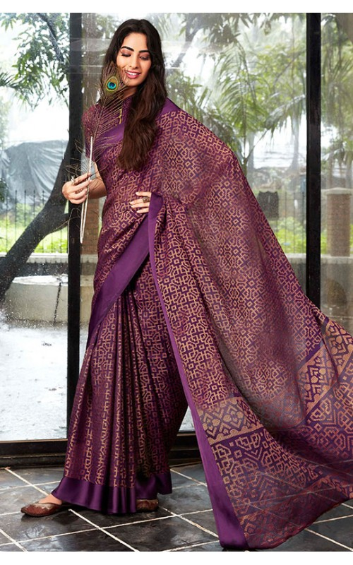 Burgundy Kota Brasso Party Wear Saree