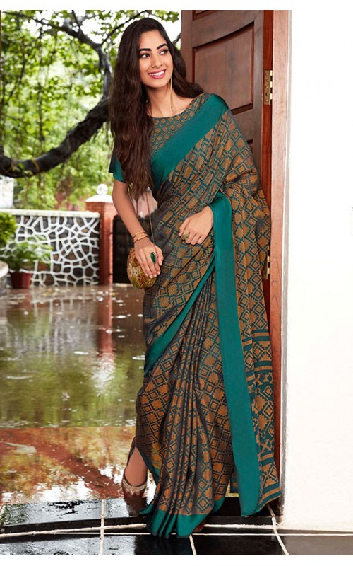 Green Kota Brasso Party Wear Saree